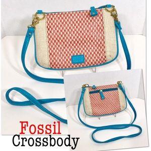 Fossil crossbody purse bag brass hardware